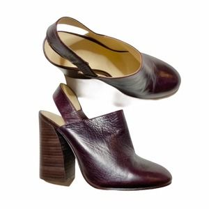 Zara Leather Slingback Block Heel Mules